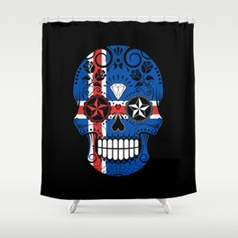 Sugar Skull with Roses and Flag of Iceland Shower Curtain