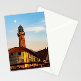 Seaside resort Warnemünde the moon says goodbye to the sun Stationery Cards
