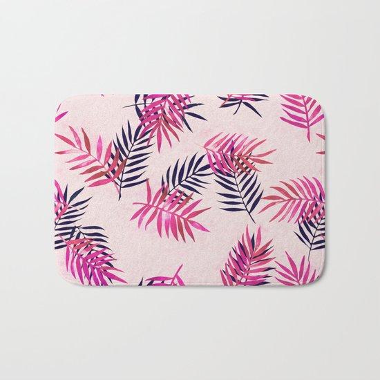 Pink Palm Pattern Bath Mat