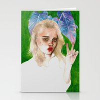 sky ferreira Stationery Cards featuring SKY FERREIRA PLUS PLANTS by Jethro Lacson