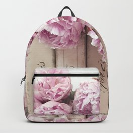 Shabby Chic Pink Peonies Paris Books Wall Art Print Home Decor Backpack