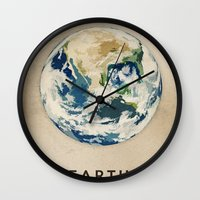 earth Wall Clocks featuring Earth by Heather Landis