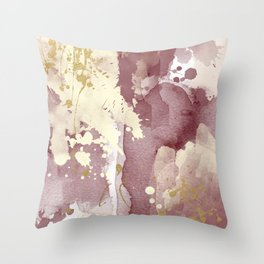 Burgundy abstract painting Throw Pillow