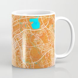 Milton Keynes, England, Gold, Blue, City, Map Coffee Mug