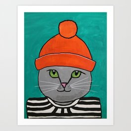 Striped-T-shirt Cat Portrait Original Acrylic on Canvas Painting Art Print