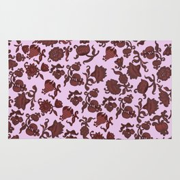 red flowers and foliage 2 / Art Rug