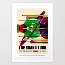 NASA Voyagers Grand Tour Poster, Space Tourism Posters, Retro Space Travel Poster, Canvas, Wall Decal, Poster Print, Outer Space Wall Art Art Print