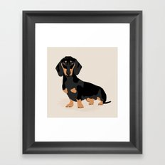 Dachshund doxie pet portrait hot dog weener dog breed funny small dogs puppy gifts for dachshund  Framed Art Print