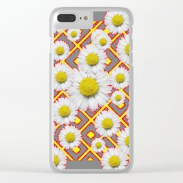 Shasta Daisies Red Pattern Art Grey abstract Clear iPhone Case