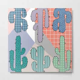 80s Retro Cactus Geometric Pattern Metal Print