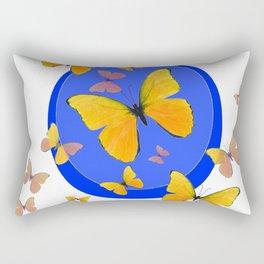 YELLOW BUTTERFLIES SWARM & BLUE RING MODERN ART Rectangular Pillow