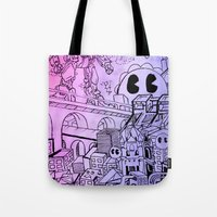 gundam Tote Bags featuring Funky Town pt. 1 by Spencer Olsen