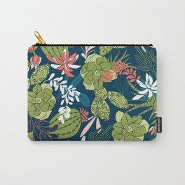 Succulent Garden Navy Carry-All Pouch