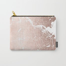 Amsterdam Rosegold on White Street Map Carry-All Pouch