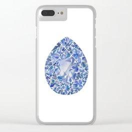 Blue Pear Gem Clear iPhone Case