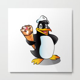 Cartoon penguin with ice cream. Metal Print