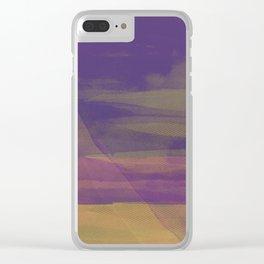Purple Beige print Clear iPhone Case