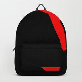 v (RED & BLACK LETTERS) Backpack