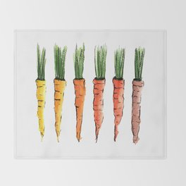 Happy colorful carrots Throw Blanket