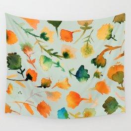 jolies fleurs in mint Wall Tapestry