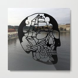 Skull Rose Ship Metal Print