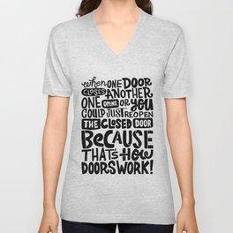 that's how doors work x typography Unisex V-Neck