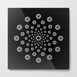 Blizzard Radiating White Circles Design On Black Metal Print