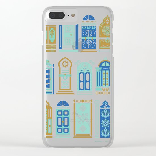 Moroccan Doors – Blue & Gold Palette Clear iPhone Case