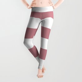 Pretty Pink Doll Bow and Wide White Cabana Stripes Leggings