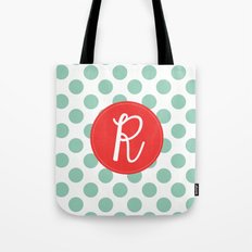 Monogram Initial R Polka Dot Tote Bag