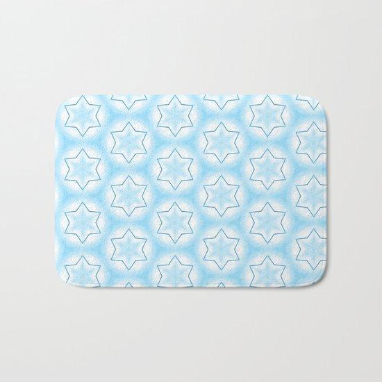 Shiny light blue winter star snowflakes pattern Bath Mat