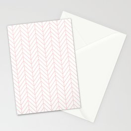 Pale Pink Herringbone Stationery Cards