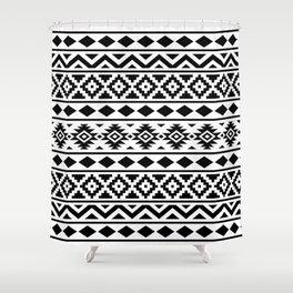 Aztec Essence Ptn III Black on White Shower Curtain