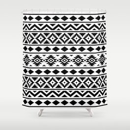Aztec Essence Ptn III Black on White Shower Curtain
