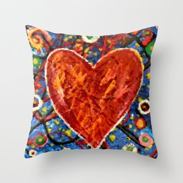 Abstract Painted Heart Throw Pillow