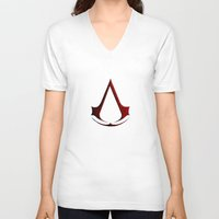 assassins creed V-neck T-shirts featuring CREED ASSASSINS LOGO by Bilqis