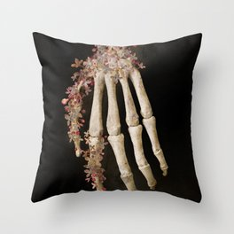 """Spring 1"" skull and flowers Throw Pillow"