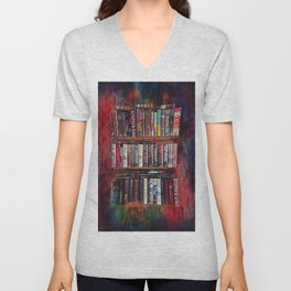 Stephen King Books on Shelves Unisex V-Neck