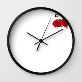 Aesthetic Rose with Japanese text Gift Vaporwave Rose Wall Clock