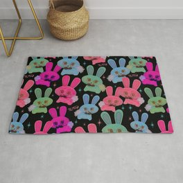 Cute Bunnies on Black Rug