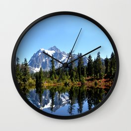 Mount Shuksan on a Sunny Day Wall Clock