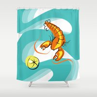 lobster Shower Curtains featuring Rock Lobster by Moirarae