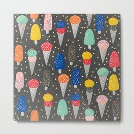 Colorful ice-cream summer food pattern Metal Print