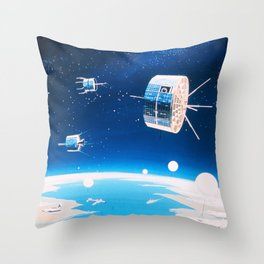 Retro space rocket and satellite vintage sci fi NOAA space and stars illustration drawing Throw Pillow