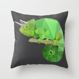 Low Poly Chameleon Throw Pillow