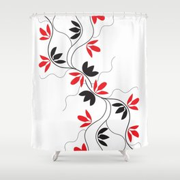 Digital Art Red Vines Shower Curtain