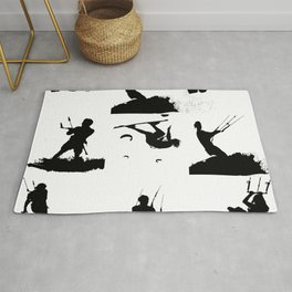 Wakeboarder Silhouette Collage Rug