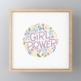 Girl Power, flowers badge | Empowerment gift Framed Mini Art Print
