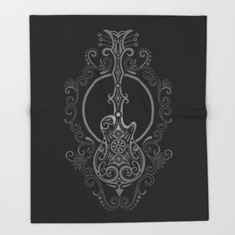Intricate Gray and Black Electric Guitar Design Throw Blanket