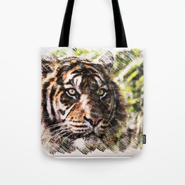 Tiger Eyes Piercing Through the Jungle Tote Bag